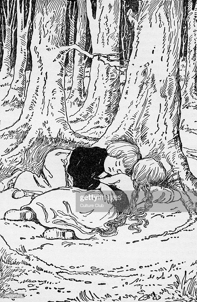 Hansel and Grethel fall asleep in the woods By Brothers Grimm first published 1812