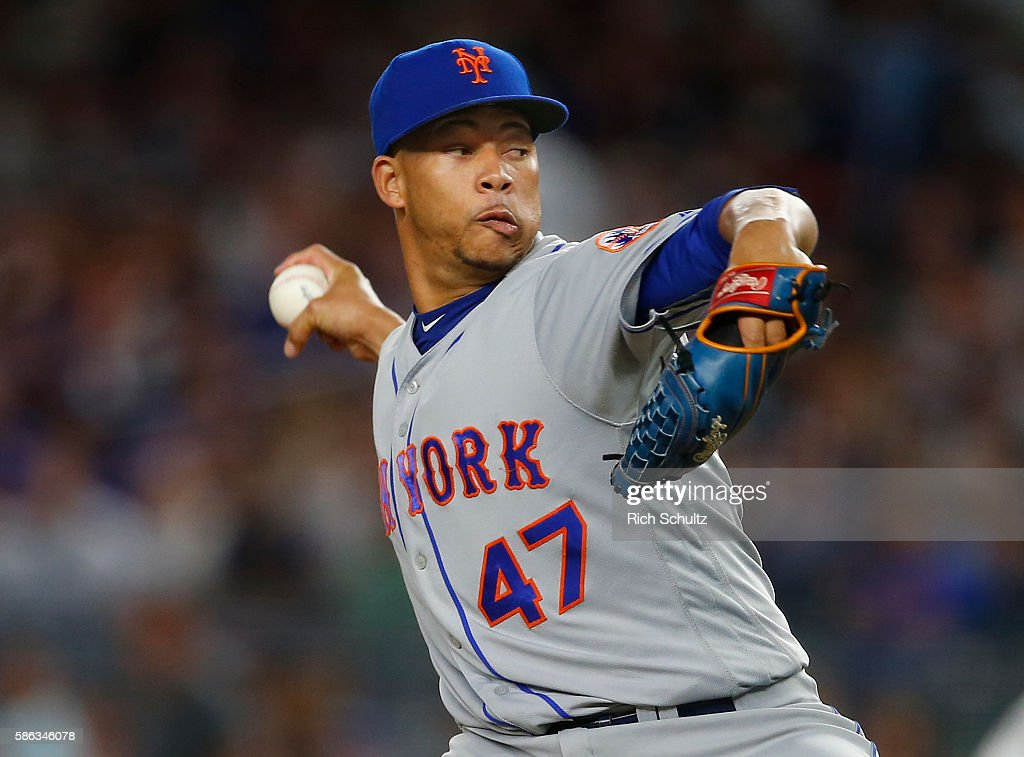 Hansel Robles of the New York Mets in action against the New York Yankees at Yankee Stadium on August 3 2016 in the Bronx borough of New York City...