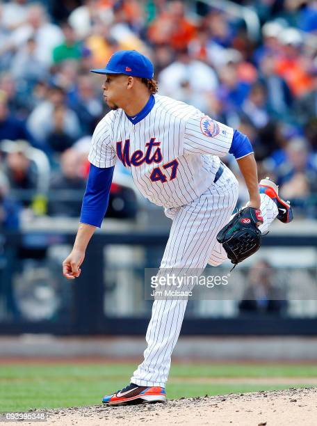 Hansel Robles of the New York Mets in action against the San Francisco Giants at Citi Field on May 10 2017 in the Flushing neighborhood of the Queens...