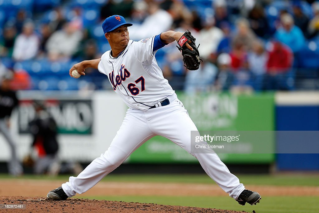 Hansel Robles #67 of the New York Mets pitches against the Miami Marlins at Tradition Field on March 2, 2013 in Port St. Lucie, Florida.