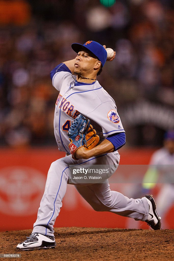 Hansel Robles of the New York Mets pitches against the San Francisco Giants during the seventh inning at ATT Park on August 18 2016 in San Francisco...