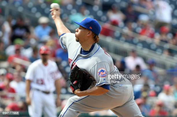 Hansel Robles of the New York Mets pitches against the Washington Nationals at Nationals Park on April 29 2017 in Washington DC