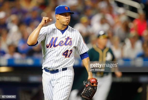 Hansel Robles of the New York Mets pumps his fist after the final out of the ninth inning against the Oakland Athletics at Citi Field on July 22 2017...