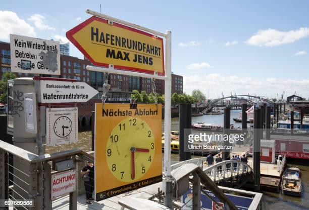 Hansestadt Hamburg information signs of harbour excursions