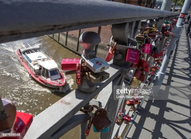 Hansestadt Hamburg ' Love locks' at a bridge in the Speicherstadt