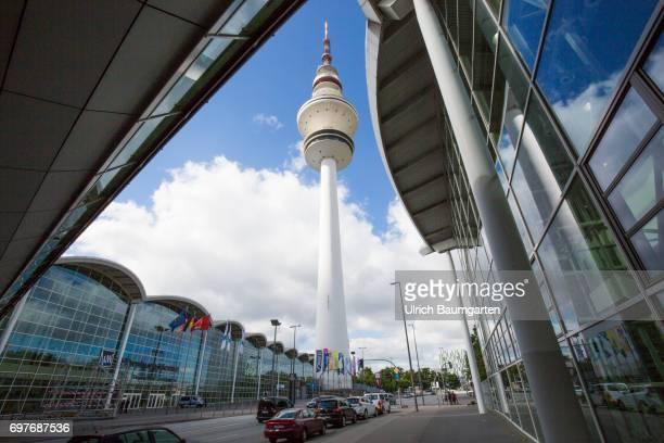 Hansestadt Hamburg the photo shows fair halls and the Hamburg TV Tower