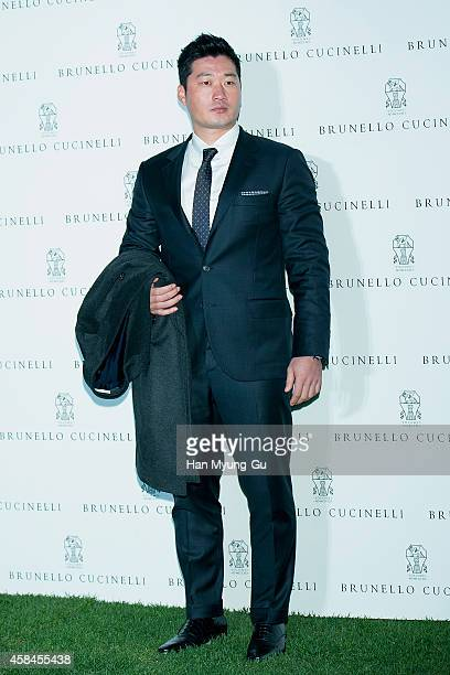 Hanshin Tigers Pitcher Oh SeungHwan attends the flagship store opening of 'Brunello Cucinelli' on November 5 2014 in Seoul South Korea