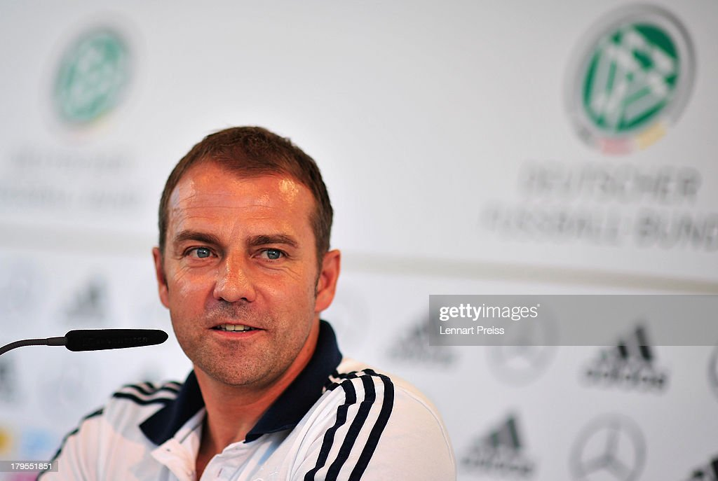Hansi Flick, assistant coach of Germany attends a press conference ahead of their FIFA World Cup qualifier against Austria, at the Mercedes Benz Center on September 5, 2013 in Munich, Germany.