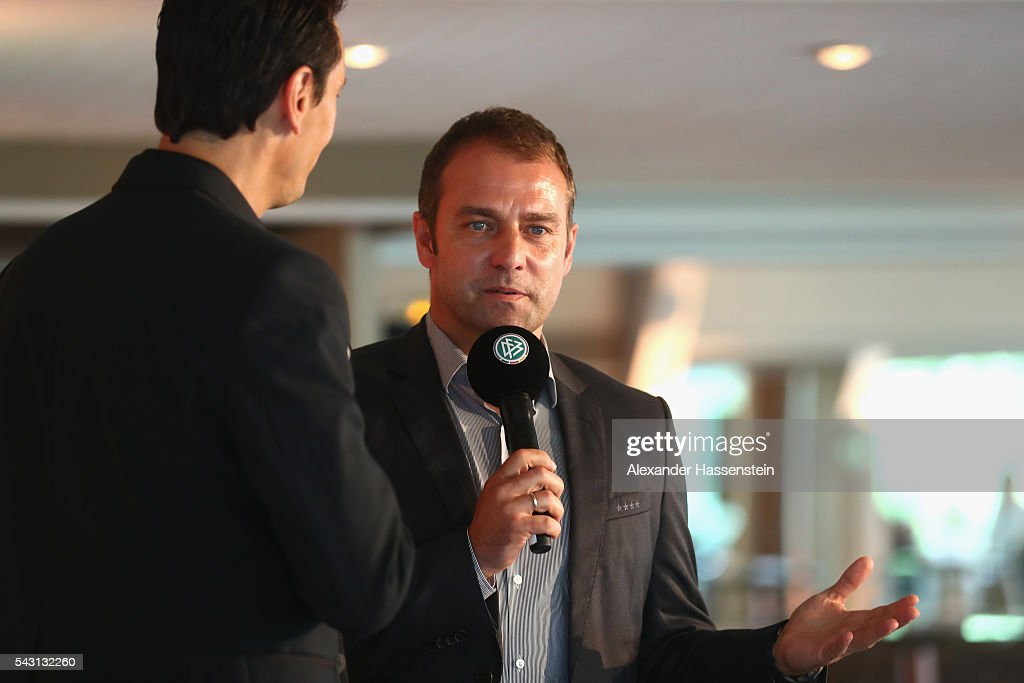 Hansi Flick, Sports Director of the DFB speaks during the DFB EURO 2016 Club reception at Domaine de la Chanterelle on June 26, 2016 in Lille, France.