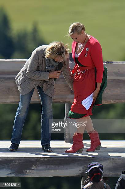 Hansi Hinterseer and Andrea Kiewel during the recording of the TV Show 'ZDF Fernsehgarten' at Seiser Alm near Kastelruth on September 17 2013 in...