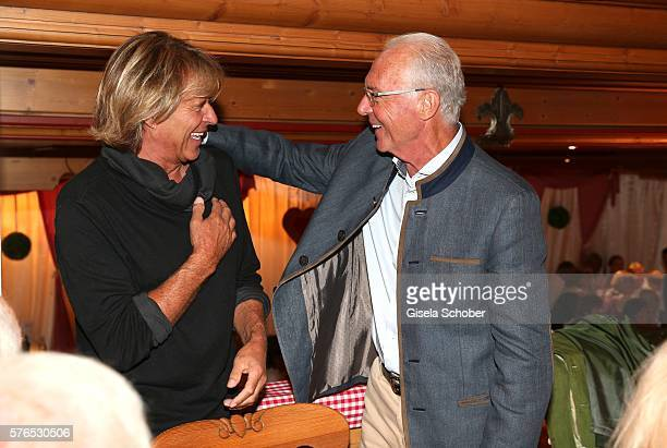 Hansi Hinterseer and Franz Beckenbauer during a bavarian evening ahead of the Kaiser Cup 2016 on July 15 2016 in Bad Griesbach near Passau Germany