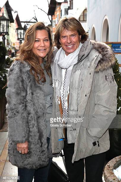 Hansi Hinterseer and his wife Romana arrive for the NeujahrsKarpfenessen in Hotel zur Tenne on January 06 2015 in Kitzbuehel Austria