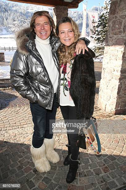 Hansi Hinterseer and his wife Romana Hinterseer during the NeujahrsKarpfenessen at Hotel Kitzhof on January 6 2017 in Kitzbuehel Austria