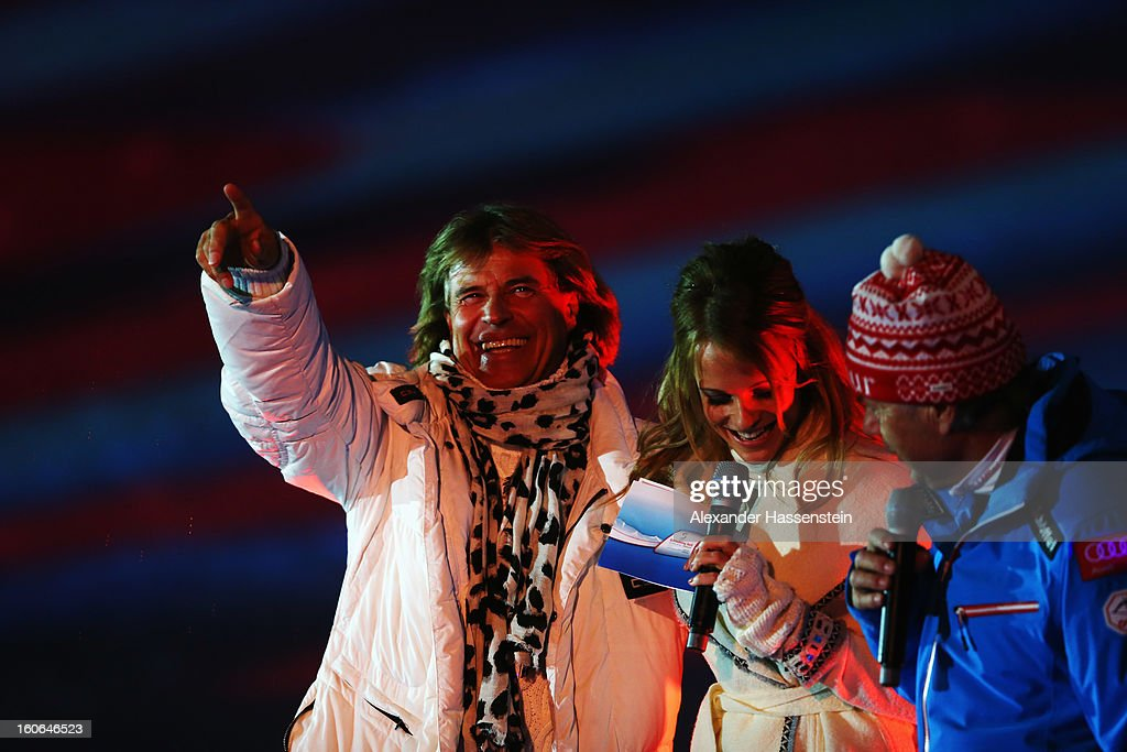 Hansi Hinterseer the Austrian singer, actor, entertainer and former alpine skier appears during the opening ceremony for the Alpine FIS Ski World Championships on February 4, 2013 in Schladming, Austria.