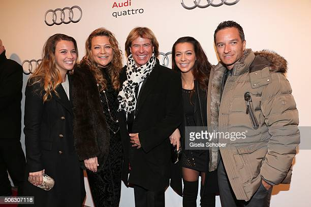 Hansi Hinterseer with his daughter Laura his wife Romana his daughter Jessica and her fiance Timo Scheider attend the AUDI Night 2016 during...