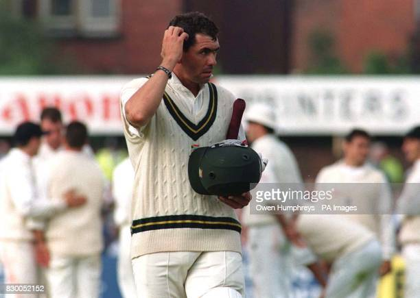 Hansie Cronje the South African Test Captain walks off after being given out to a controversial lbw decision off the bowling of England's Angus...