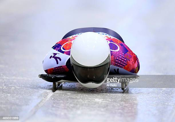 Hansin Lee of South Korea competes a run during the Men's Skeleton heats on Day 7 of the Sochi 2014 Winter Olympics at Sliding Center Sanki on...