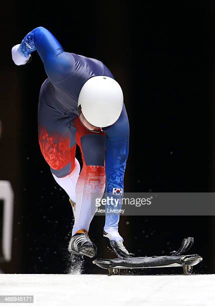 Hansin Lee of South Korea makes a practice skeleton run ahead of the Sochi 2014 Winter Olympics at the Sanki Sliding Center on February 5 2014 in...