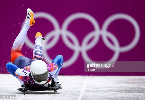 Hansin Lee of South Korea starts a run during the Men's Skeleton heats on Day 7 of the Sochi 2014 Winter Olympics at Sliding Center Sanki on February...