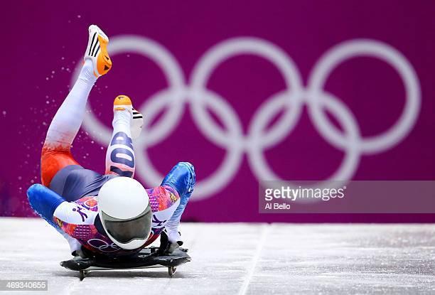 Hansin Lee of South Korea starts a run during the Men's Skeleton heats on Day 7 of the Sochi 2014 Winter Olympics at Sliding Center Sanki on February...