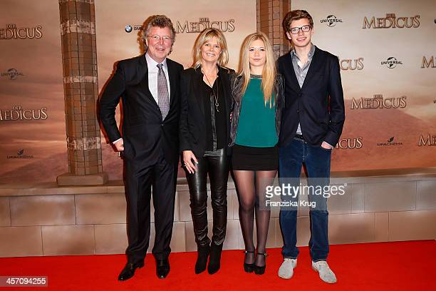 HansJoachim Flebbe with his wife Rita Flebbe and his kids Farina and Tom attend 'The Physician' German Premiere on December 16 2013 in Berlin Germany