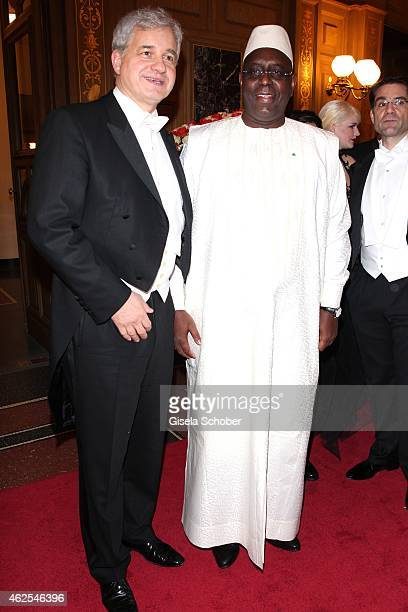 HansJoachim Frey Macky Sall president of Senegal during the Semper Opera Ball 2015 at Semperoper on January 30 2015 in Dresden Germany