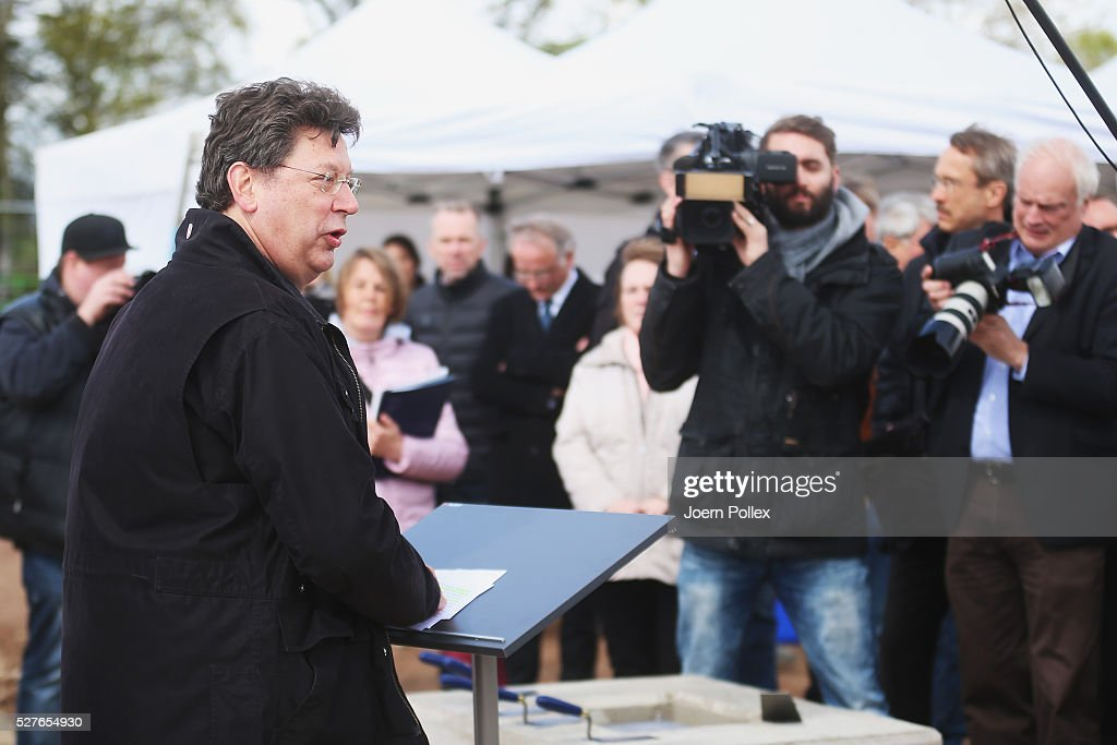 Hans-Joachim Grotte, Minister for Economic Affairs Schleswig-Holstein, speaks to the attendant crowd during the foundation stone laying ceremony for the new Condair EMEA Logistic and Production Plant on May 3, 2016 in Norderstedt, Germany.