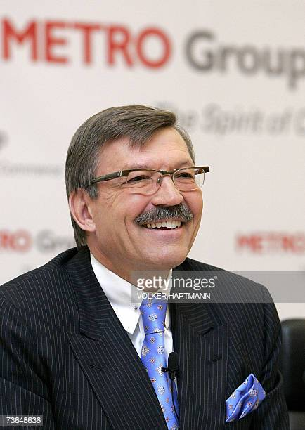 HansJoachim Koerber chairman of the German retail and distribution giant Metro smiles as he gives a press conference 21 March 2007 in Duesseldorf...