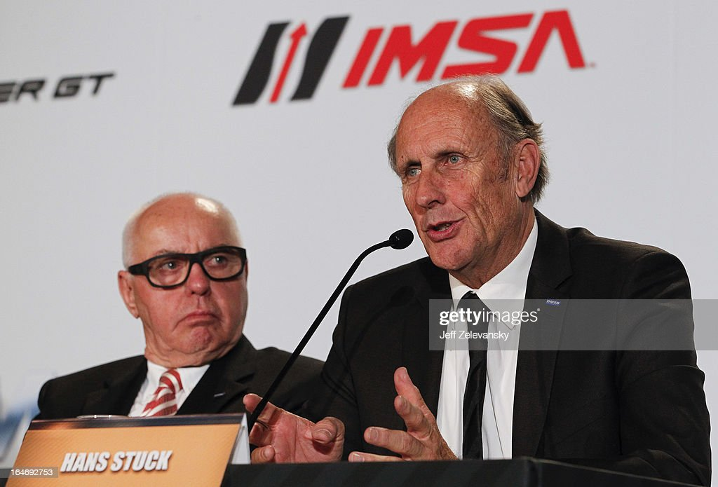 Hans-Joachim Stuck, President, DMSB speaks at a news conference to announce the GRAND AM IMSA DTM technical license cooperation agreement at the Intercontinental Hotel on March 26, 2013 in New York City.