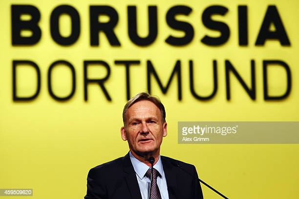 HansJoachim Watzke addresses the annual shareholders' meeting of Borussia Dortmund GmbH Co KGaA at Westfalenhalle on November 24 2014 in Dortmund...