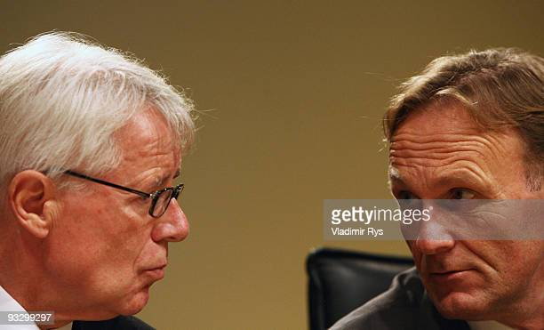 HansJoachim Watzke and president Reinhard Rauball of Borussia Dortmund speak during the Borussia Dortmund annual meeting at the Westfallenhalle on...