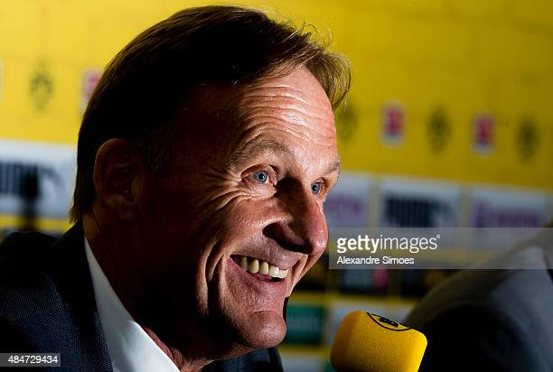 HansJoachim Watzke attends the press briefing on the annual results of Borussia Dortmund at Signal Iduna Park on August 21 2015 in Dortmund Germany