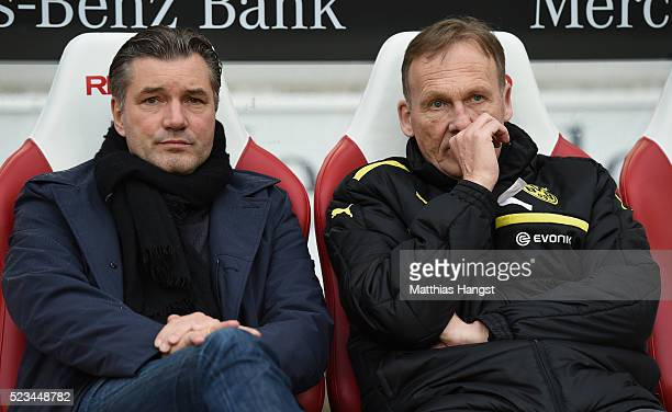 HansJoachim Watzke CEO of Borussia Dortmund and Michael Zorc sports director of Borussia Dortmund seen prior to the Bundesliga match between VfB...
