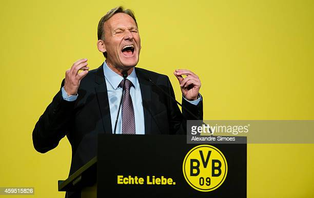 HansJoachim Watzke CEO of Borussia Dortmund during the Annual General Meeting of Borussia Dortmund GmbH Co KGaA at the Westfalenhalle Dortmund on...