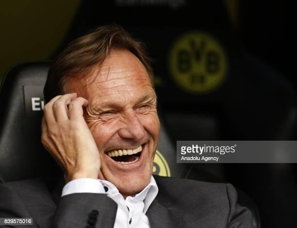 HansJoachim Watzke of Borussia Dortmund is seen before the Bundesliga soccer match between Borussia Dortmund and Hertha BSC Berlin at the Signal...