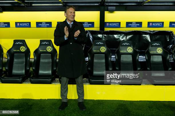 HansJoachim Watzke of Borussia Dortmund laughs during the UEFA Champions League Round of 16 Second Leg match between Borussia Dortmund and SL Benfica...