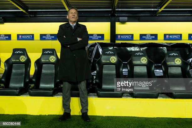 HansJoachim Watzke of Borussia Dortmund looks on during the UEFA Champions League Round of 16 Second Leg match between Borussia Dortmund and SL...