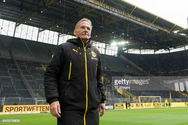 HansJoachim Watzke of Dortmund is seen in front of the closed south stand before during the Bundesliga match between Borussia Dortmund and VfL...