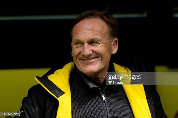 HansJoachim Watzke of Dortmund laughs during the Bundesliga match between Borussia Dortmund and FC Koeln at Signal Iduna Park on April 29 2017 in...