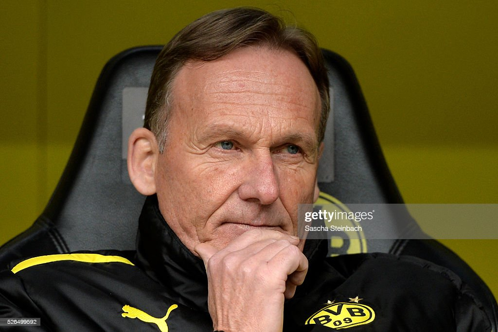 Hans-Joachim Watzke of Dortmund looks on prior to the Bundesliga match between Borussia Dortmund and VfL Wolfsburg at Signal Iduna Park on April 29, 2016 in Dortmund, Germany.