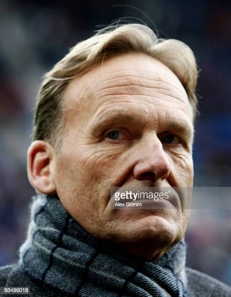 HansJoachim Watzke of Dortmund pauses before the Bundesliga match between 1899 Hoffenheim and Borussia Dortmund at the RheinNeckar Arena on November...