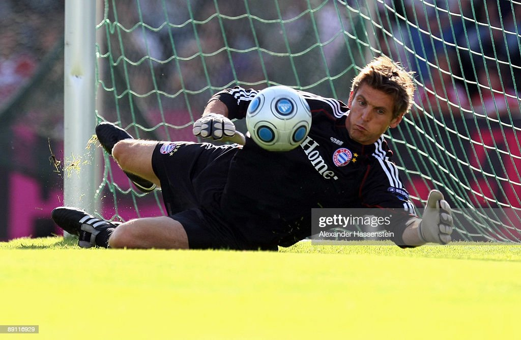 Hans-Joerg Butt of Bayern Muenchen challenge for the ball during a training session at the Anton Mall stadium at day three of the FC Bayern Muenchen training camp on July 20, 2009 in Donaueschingen, Germany.