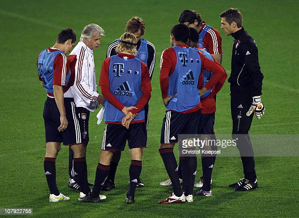 HansJoerg Butt of Bayern plays in the substitute team during the FC Bayern Muenchen training session at Aspire Academy for Sports Excellence training...