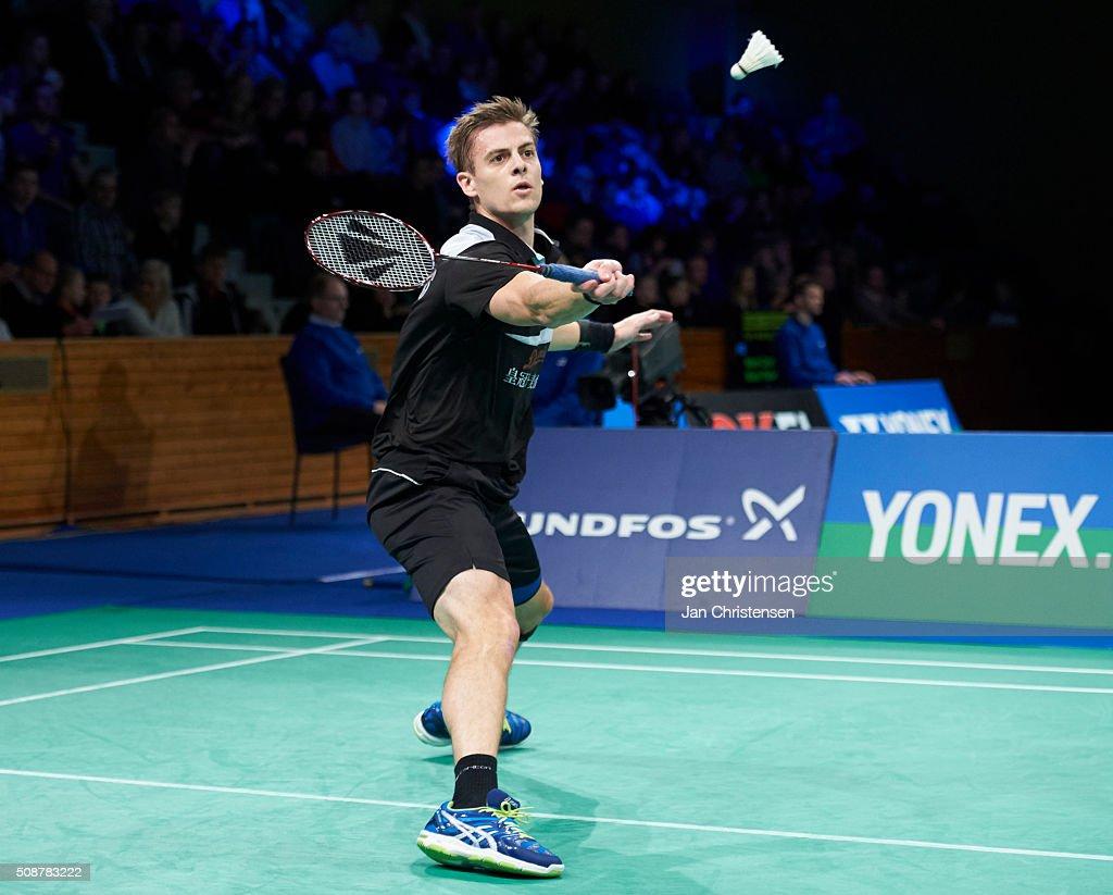 Hans-Kristian Vittinghus of Skalskor in action during the Danish Badminton Championships YONEX DM 2016 - Semifinals at Arhus Stadionhal on February 6, 2016 in Arhus, Denmark.