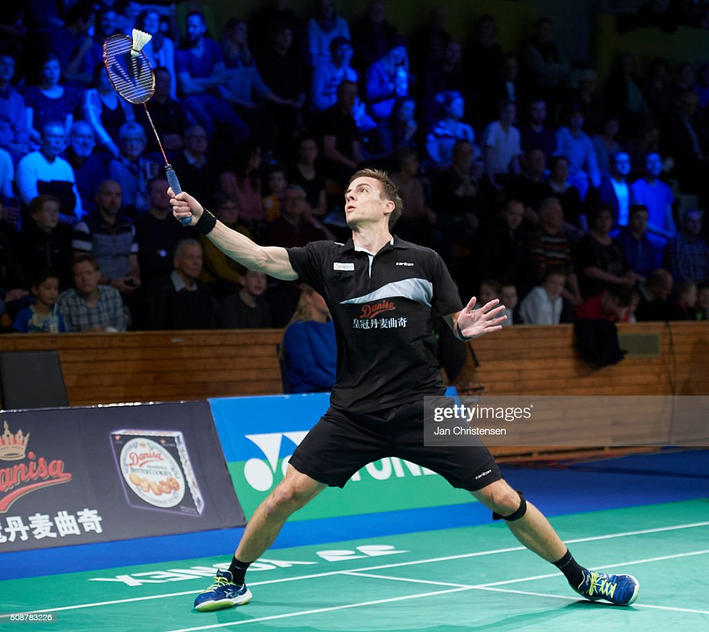 Hans-Kristian Vittinghus of Skalskor in action during the Danish Badminton Championships YONEX DM 2016 - Semifinals at Arhus Stadionhal on February 6, 2016 in Arhus, Denmark.