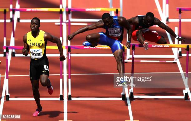 Hansle Parchment of Jamaica leads the mens 100m hurdles heats during day three of the 16th IAAF World Athletics Championships London 2017 at The...