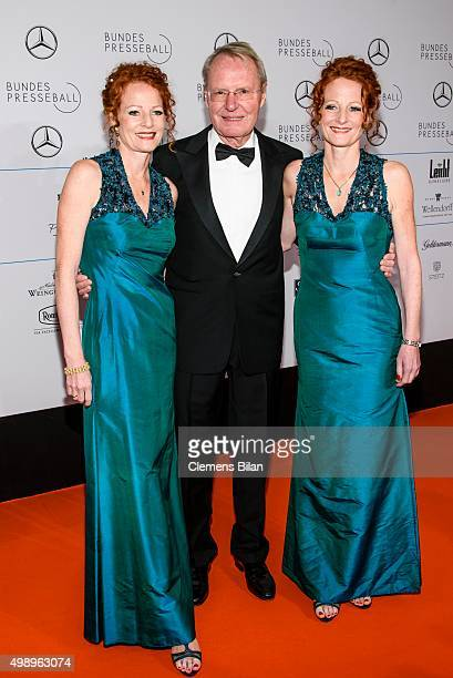 HansOlaf Henkel and Bettina Hannover and Almut Hannover attend the Bundespresseball 2015 at Hotel Adlon on November 27 2015 in Berlin Germany