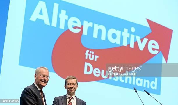 HansOlaf Henkel candidate of the eurosceptic Alternative for Germany party for the European Parliament and the party's leader Bernd Lucke attend a...