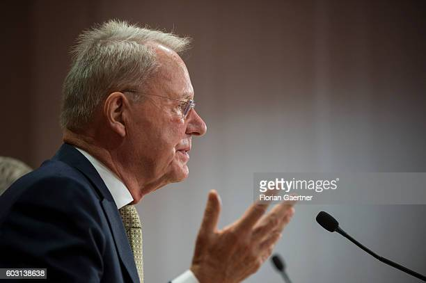HansOlaf Henkel politician and author is captured during a press conference on September 12 2016 in Berlin Germany