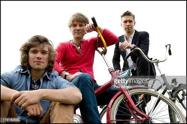 Hanson pose for a group portrait at Pinkpop Landgraaf Netherlands 12th June 2011 LR Zac Hanson Taylor Hanson and Isaac Hanson